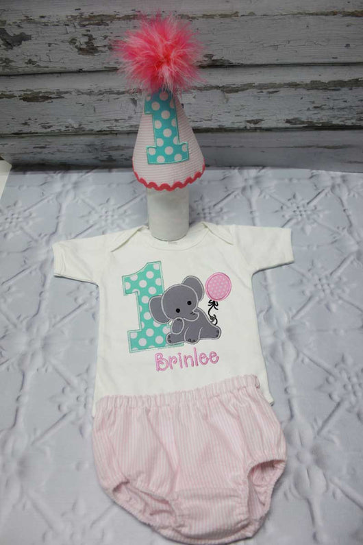 Girls Cake Smash OutfitGirls Elephant Elephan TipTopKidsDesigns