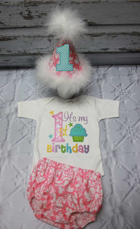 Girls Cake Smash Outfit,Girls It's My First Birthday Cake Smash Outfit,Girls First Birthday Outfit,Appliqué Embroidered
