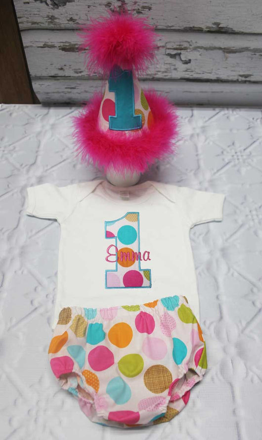 Girls Cake Smash Outfit,Girls Multi  Dot Cake Smash Outfit,Girls Number First Birthday Outfit,Appliqué Embroidered