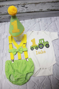 Boys Cake Smash Outfit,Tractor Cake Smash Outfit Smash,Boys First Birthday Clothes,
