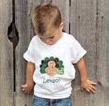 Boys Camo Turkey Shirt,Boys Thanksgiving Shirt,Appliqué Embroidered Shirt Bodysuit