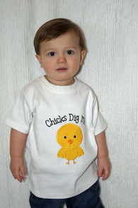 Chicks Dig Me Boys Valentine Shirt,Boys T shirt or Bodysuit, Appliqué Embroidered
