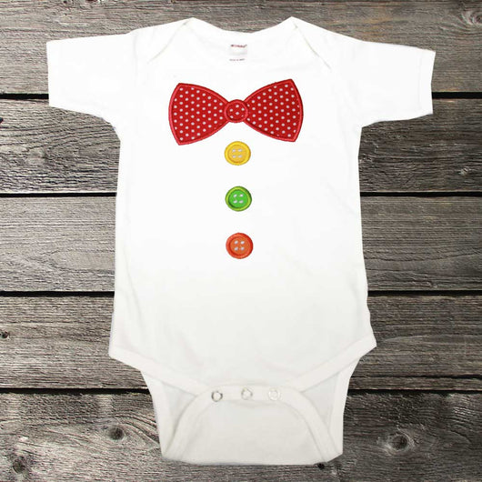 Circus Clown Birthday Shirt,Boys Birthday Shirt,Clown Bow Tie and Buttons,Appliqué Embroidered