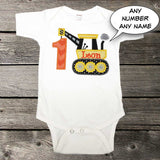 Boys Construction Birthday Shirt,Boys Birthday Shirt,Boys Crane Shirt,Appliqué Embroidered Shirt