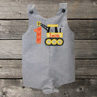 Boys Construction Birthday Jon,Boys Birthday Jon,First Birthday Jon,Applique Embroidered Jon