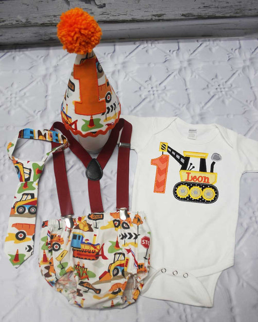 Construction Cake Smash Outfit,Boys Cake Smash,Boys First Birthday Clothes,