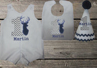 Boys Deer Birthday Set,Boys First Birthday Set,First Birthday Deer Jon Hat Bib