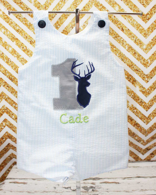 Boys Birthday Deer Jon,Boys Birthday Jon,First Birthday Jon,Applique Embroidered Jon