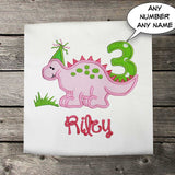 Girls Birthday Shirt,Girls Dinosaur Birthday Shirt,First Birthday Shirt,Appliqué Embroidered Shirt Bodysuit