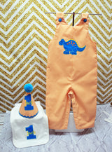 Boys Birthday Dinosaur Jon,Add Matching Hat and/or Bib, Boys Birthday Jon,First Birthday Jon,Applique Embroidered Jon
