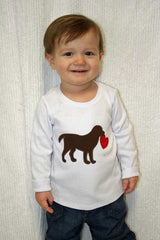 Boys Valentine Dog Heart Shirt,Boys T shirt or Bodysuit, Appliqué Embroidered