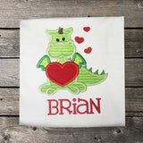 Boys Valentine Shirt,Dragon Heart Shirt,Boys T shirt or Bodysuit, Appliqué Embroidered