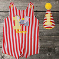 Boys Birthday Dumbo Jon,Add Matching Hat, Boys Birthday Jon,First Birthday Jon,Applique Embroidered Jon