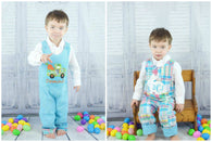 Boys Reversible Easter Jon,Boys Bunny Jon,Boys First Easter Clothes,Boys First Easter Outfit,Appliquéd Embroidered Jon Jon Shortall Longall