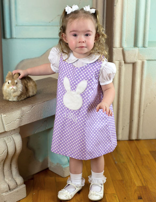Easter Bunny Dress,Girls Easter Dress,Girls Aline Dress,Appliqué Embroidered Dress Aline Dress