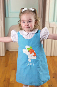 Easter Bunny Carrot Dress,Girls Easter Dress,Girls Aline Dress,Appliqué Embroidered Dress Aline Dress