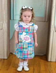 Girls Monogrammed Easter Rabbit Dress,Girls Easter Dress,Girls Aline Dress,Appliqué Embroidered Dress Aline Dress