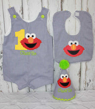 Boys Birthday Elmo Jon,Boy Birthday Jon,First Birthday Jon,Appliqué Embroidered Jon