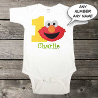 Boys Birthday Shirt,Boys Elmo Birthday Shirt,Appliqué Embroidered Shirt