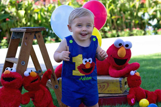 Boys Birthday Elmo Jon,Boys Birthday Jon,First Birthday Jon,Applique Embroidered Jon
