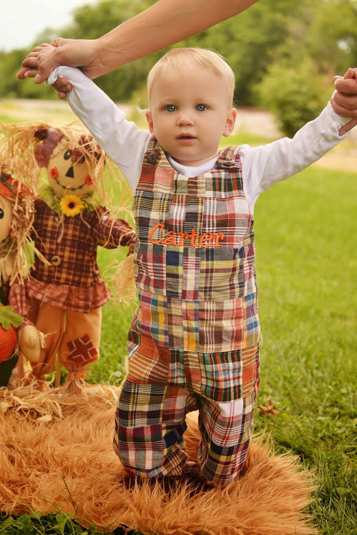 Boys Fall Madras Jon,Boys Monogrammed Jon,Boys First Fall Clothes,Boys First Thanksgiving Outfit,Appliquéd Embroidered Jon Jon Shortall Longall