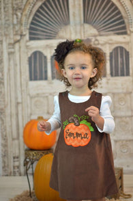 Girls Fall Dress,Fall Pumpkin Dress,Girls Thanksgiving Dress,Appliqué Embroidered Dress Aline Dress