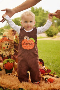 Boys Pumpkin Jon,Boys Thanksgiving Jon,Boys First Fall Clothes,Boys First Thanksgiving Outfit,Appliquéd Embroidered Jon Jon Shortall Longall