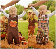 Boys Reversible Thanksgiving Jon,Boys Pumpkin Jon,Boys First Thanksgiving Clothes,Boys First Thanksgiving Outfit,Appliquéd Embroidered Jon Jon Shortall Longall