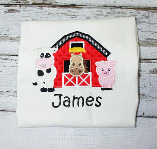 Boys Farm Birthday Shirt,Boys Birthday Shirt,Boys Barn Shirt,Appliqué Embroidered Shirt