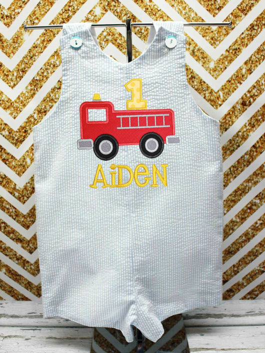 Boys Firetruck Jon,Boys Birthday Jon,First Birthday Jon,Applique Embroidered Jon