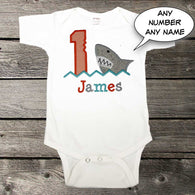 Boys Shark First Birthday Shirt,Boys Birthday Shirt,Appliqué Embroidered Shirt