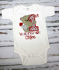 Girls First Valentine Shirt,First Valentine Bodysuit,Girls T shirt or Bodysuit, Appliqué Embroidered