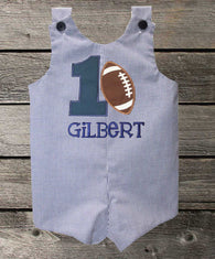 Boys Birthday Jon,Boys Football Birthday Jon,First Birthday Jon,Applique Embroidered Jon
