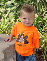Boys Thanksgiving Shirt,Boys Football Turkey Shirt,Appliqué Embroidered Shirt Bodysuit