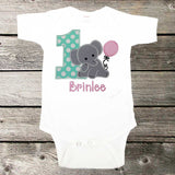 Girls Birthday Shirt,Elephant Birthday Shirt,First Birthday Shirt,Appliqué Embroidered Shirt Bodysuit