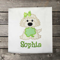 Girls St Patricks Shirt,Girls Shamrock Dog Shirt,Girls T shirt or Bodysuit, Appliqué Embroidered