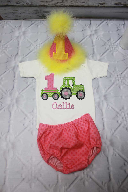 Girls Cake Smash Outfit,Girls Tractor Cake Smash Outfit,Girls Tractor First Birthday Outfit,Appliqué Embroidered