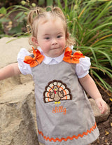 Girls Turkey Dress,Girls Fall Dress,Girls Thanksgiving Dress,Appliqué Embroidered Dress Aline Dress
