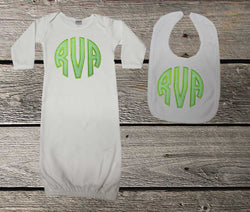 Lime Green Monogram Baby Girl Gown and/or Bib,Appliqué Monogram Baby Gown,Coming Home Outfit