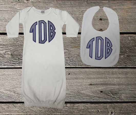 Navy Monogram Baby Boys Gown and/or Bib,Appliqué Monogram Baby Gown,Coming Home Outfit