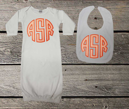 Orange Monogram Baby Boys Gown and/or Bib,Appliqué Monogram Baby Gown,Coming Home Outfit