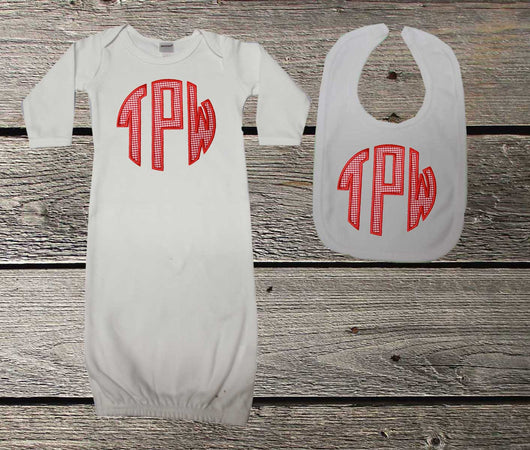 Red Monogram Baby Boys Gown and/or Bib,Appliqué Monogram Baby Gown,Coming Home Outfit