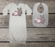Brown Gingham Bunny Baby Girl Gown and/or Bib,Appliqué Baby Gown,Coming Home Outfit