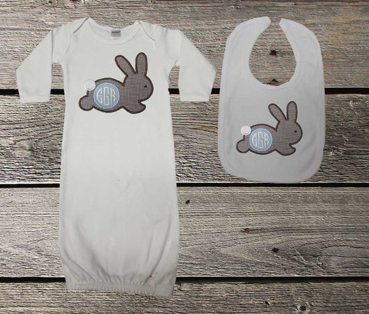 Brown Gingham Bunny Baby Boy Gown and/or Bib,Appliqué Baby Gown,Coming Home Outfit