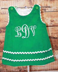 Girls Christmas Monogram Dress,Monogram Girls Dress,Girls Christmas Dress,Green Christmas Dress,Appliqué Embroidered Dress Aline Dress