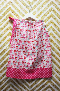 Girls Valentine Hearts Dress,Girls Pillowcase Dress,Appliqué Embroidered