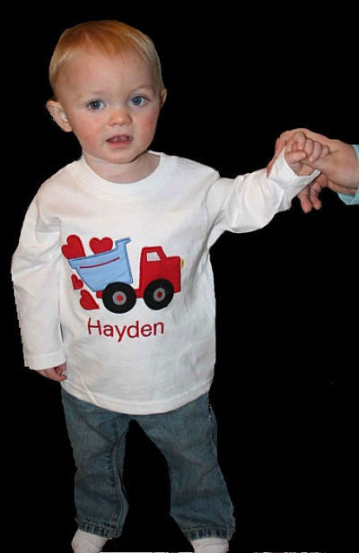 Boys Valentine Heart Dump Truck Shirt,Boys T shirt or Bodysuit, Appliqué Embroidered