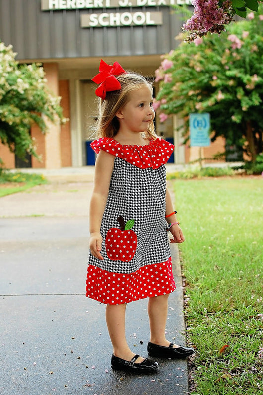 Girls Back to School Dress,Apple Back to School Dress,Ruffle Neck Peasant Dress