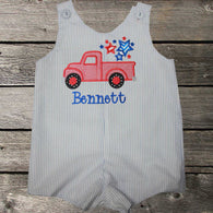 Boys Patriotic Truck Jon,Boys July 4th Truck Jon,Boys Appliqué July 4th Jon