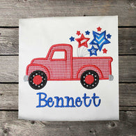 Boys Patriotic Truck Shirt,Boys July 4th Truck Shirt,Appliqué Embroidered Patriotic Shirt